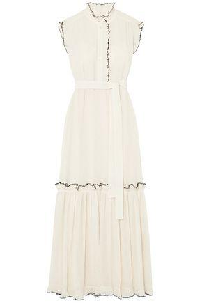 토리버치 Tory Burch Meredith ruffled crinkled-georgette maxi dress,Ivory