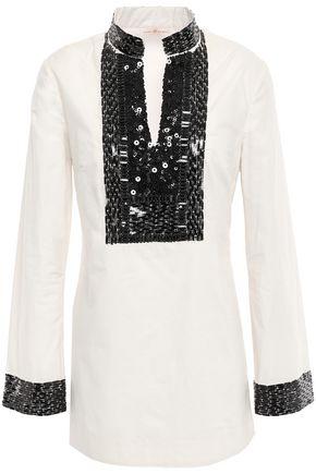 토리버치 Tory Burch Embellished cotton-poplin tunic,Off-white
