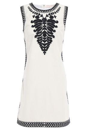 토리버치 Tory Burch Embellished embroidered cotton-canvas mini dress,Ivory