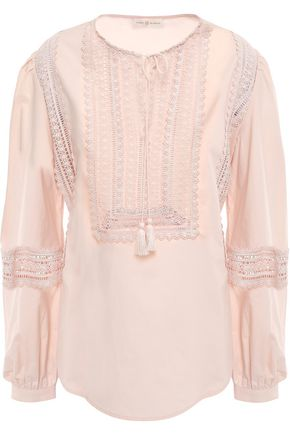 토리버치 Tory Burch Crochet-trimmed cotton tunic,Pastel pink