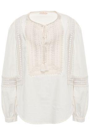 토리버치 Tory Burch Crochet-trimmed cotton tunic,Ivory
