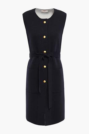 토리버치 Tory Burch Belted merino wool-blend dress,Navy