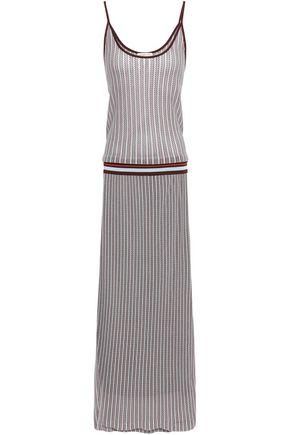 토리버치 Tory Burch Ribbed crochet-knit maxi dress,Merlot