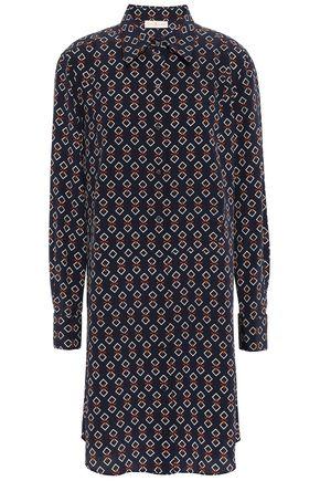 토리버치 Tory Burch Silk crepe de chine mini shirt dress,Navy