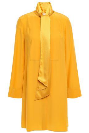 토리버치 Tory Burch Silk-cady mini shirt dress,Saffron
