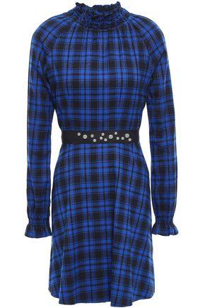 마쥬 MAJE Belted checked cotton-flannel mini dress,Royal blue