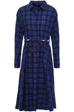 마쥬 MAJE Embellished cotton-flannel midi dress,Royal blue