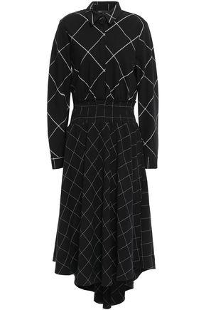 마쥬 MAJE Asymmetric shirred twill dress,Black