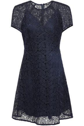 마쥬 MAJE Flared guipure lace mini dress,Midnight blue
