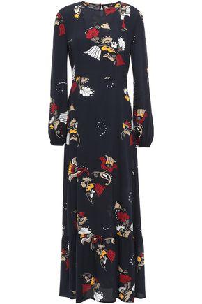 마쥬 MAJE Crepe de chine maxi dress,Midnight blue