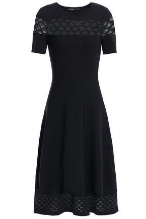 마쥬 MAJE Crochet-trimmed stretch-ponte midi dress,Black