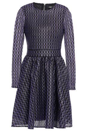 마쥬 MAJE Flared crochet-knit mini dress,Violet