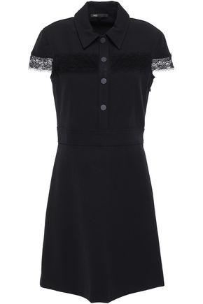 마쥬 MAJE Lace-trimmed crepe mini dress,Black