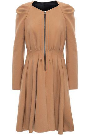 마쥬 MAJE Flared pleated twill mini dress,Camel