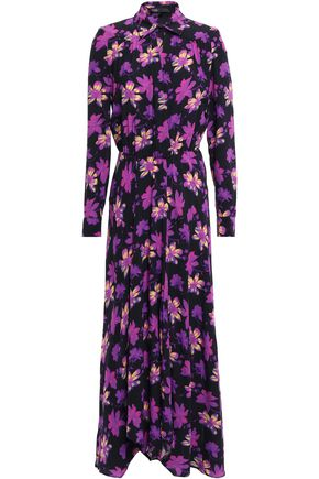 마쥬 MAJE Wrap-effect floral-print crepe maxi dress,Purple