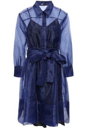 마쥬 오간자 셔츠 원피스 네이비 MAJE Belted organza mini shirt dress,Navy