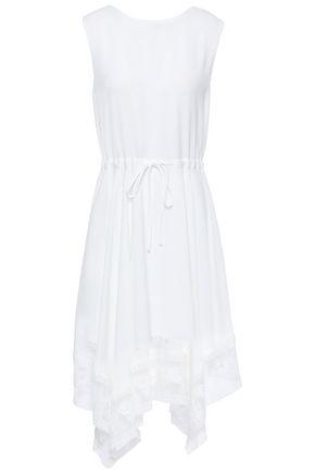 마쥬 MAJE Asymmetric lace-trimmed pique dress,White