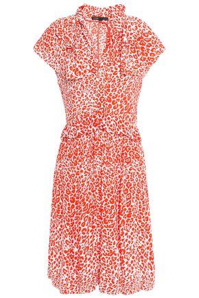 마쥬 MAJE Ruffled crepe dress,Orange