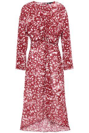 마쥬 MAJE Asymmetric twist-front georgette dress,Burgundy