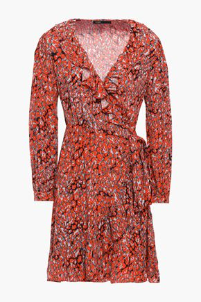 마쥬 MAJE Ruffle-trimmed leopard-print crepe mini wrap dress,Tomato red