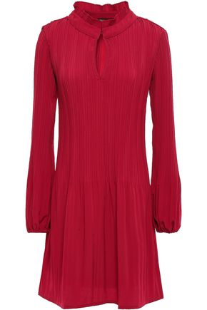 마쥬 MAJE Plisse crepe de chine dress,Crimson