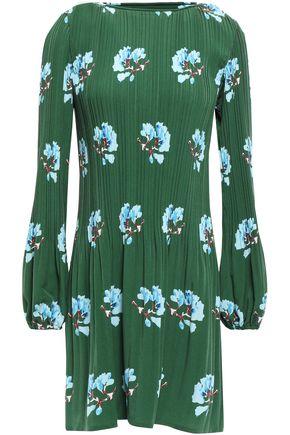 마쥬 MAJE Plisse crepe de chine mini dress,Dark green