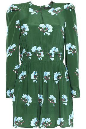 마쥬 MAJE Gathered crepe de chine mini dress,Dark green
