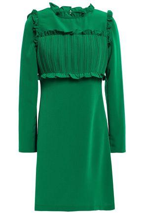 마쥬 MAJE Pintucked ruffle-trimmed crepe mini dress,Green