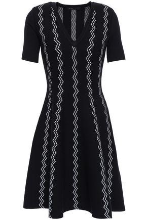 마쥬 MAJE Flared intarsia-knit mini dress,Black