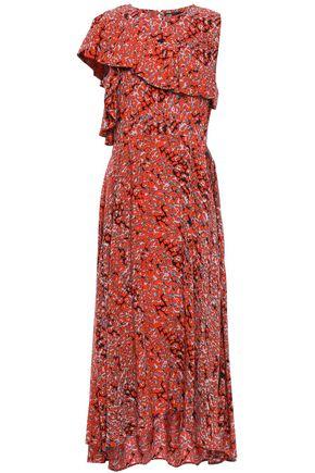 마쥬 MAJE Layered asymmetric crepe de chine midi dress,Tomato red