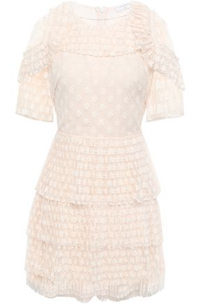 산드로 Sandro Tiered embroidered tulle mini dress,Ecru