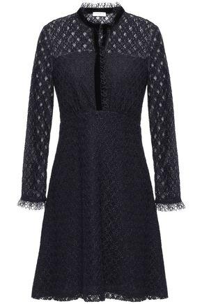 산드로 Sandro Ruffle and velvet-trimmed lace mini dress,Midnight blue