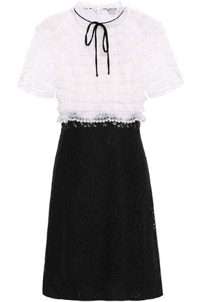 산드로 Sandro Pussy-bow two-tone lace dress,Black