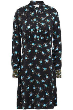 산드로 플로럴 셔츠 원피스 Sandro Floral-print satin shirt dress,Black