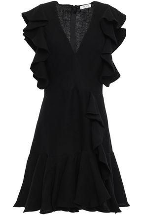 산드로 Sandro Ruffled plisse satin-crepe mini dress,Black