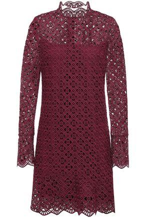 산드로 Sandro Scalloped guipure lace mini dress,Merlot