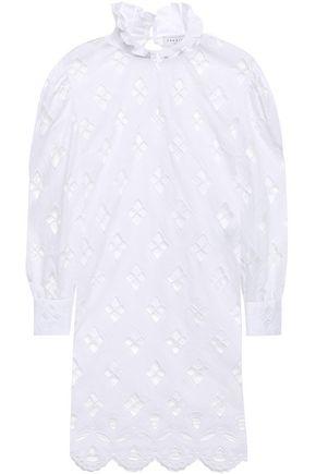 산드로 Sandro Ruffle-trimmed broderie anglaise mini dress,White