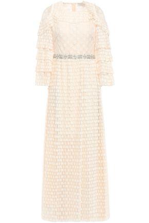 산드로 Sandro Crystal-embellished tiered embroidered tulle midi dress,Cream
