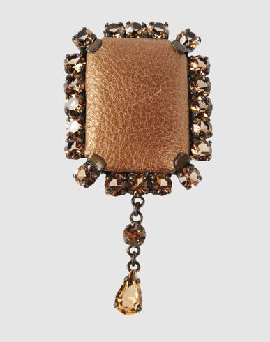 ORCIANI - Leather and Metal Brooch