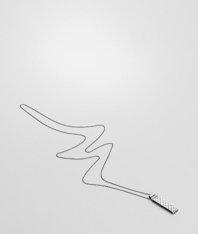 BOTTEGA VENETA Intrecciato Oxydized Silver Pendant Necklace U fp