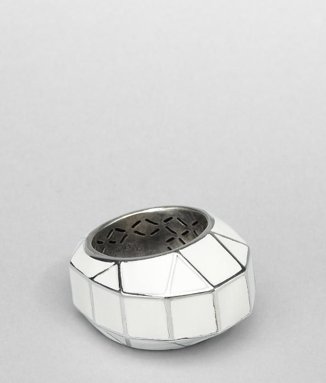 BOTTEGA VENETA Enamelled Antique Silver Ring Ring D fp