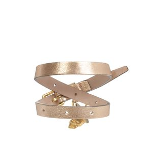 ALEXANDER MCQUEEN, Bracelet, Metallic leather Double Wrap Skull Bracelet