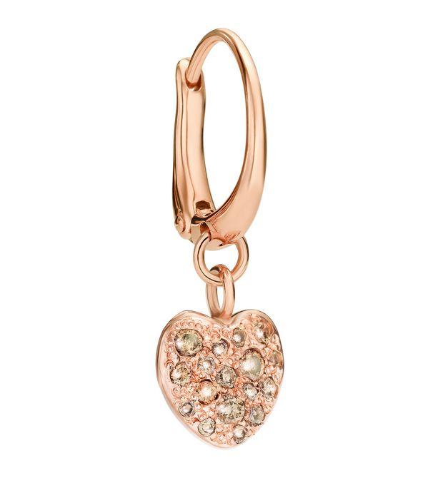 qualità affidabile elegante e grazioso vende Orecchino Cuore - Oro Rosa 9 Kt, Diamanti Brown - DoDo ...