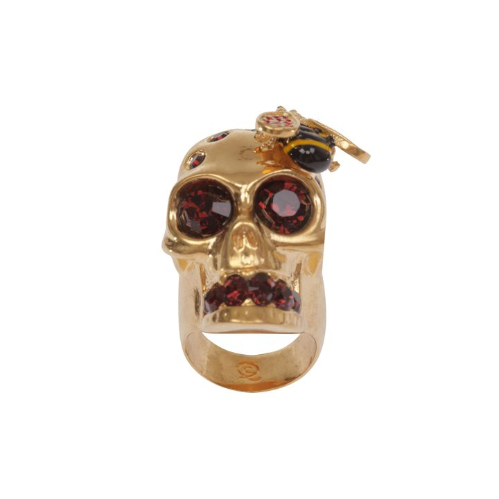 Alexander McQueen, Crystal Bee and Skull Cocktail Ring
