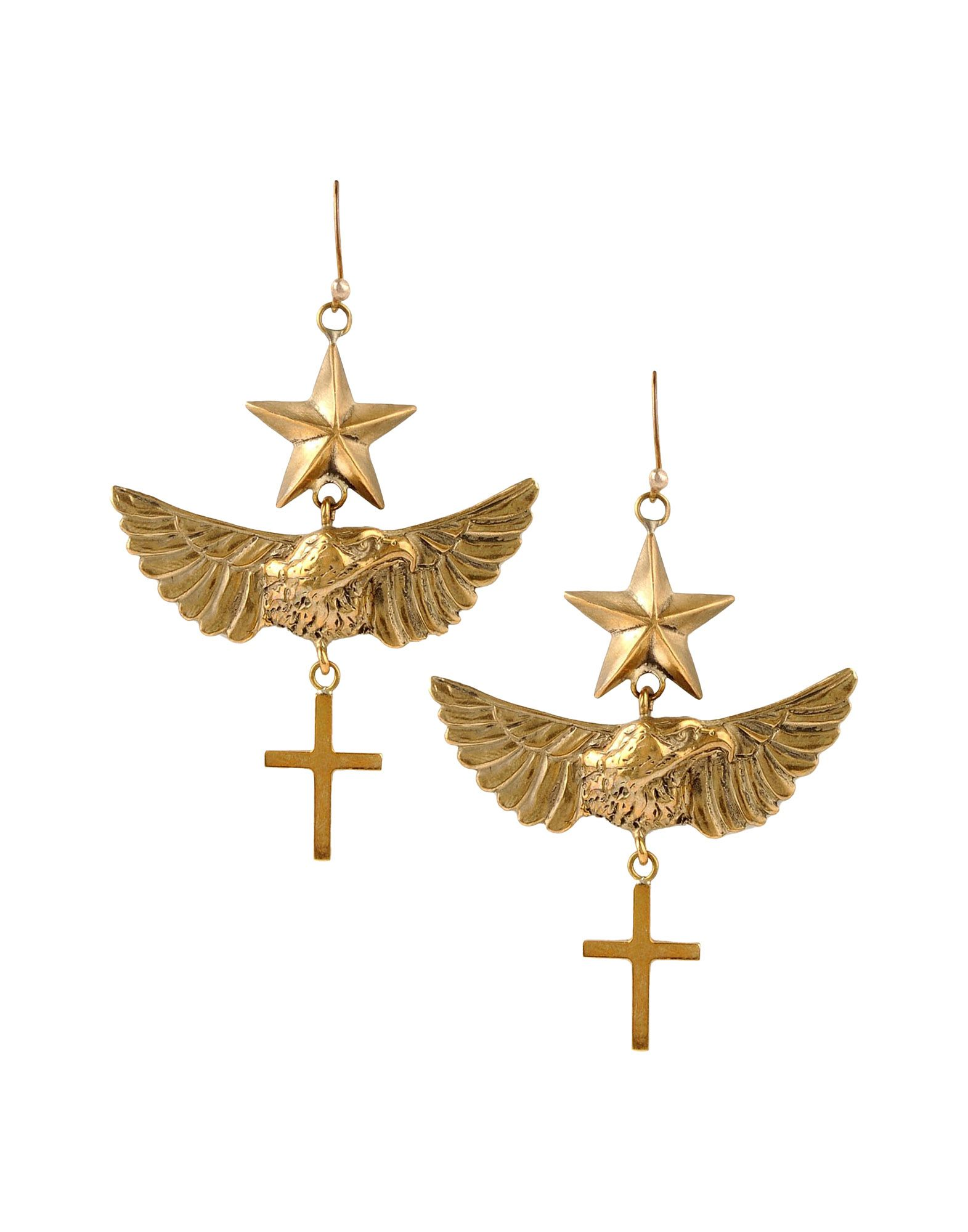 Emilio Pucci brass star cross and wing earrings