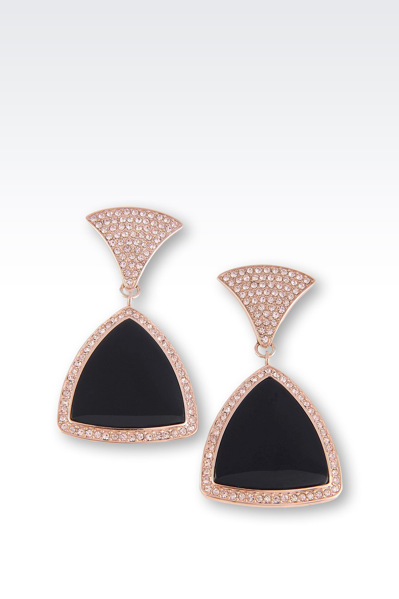 EARRINGS IN STEEL, RESIN AND SWAROVKI CRYSTALS, PINK GOLD COLOR PLATED: Earrings Women by Armani - 0