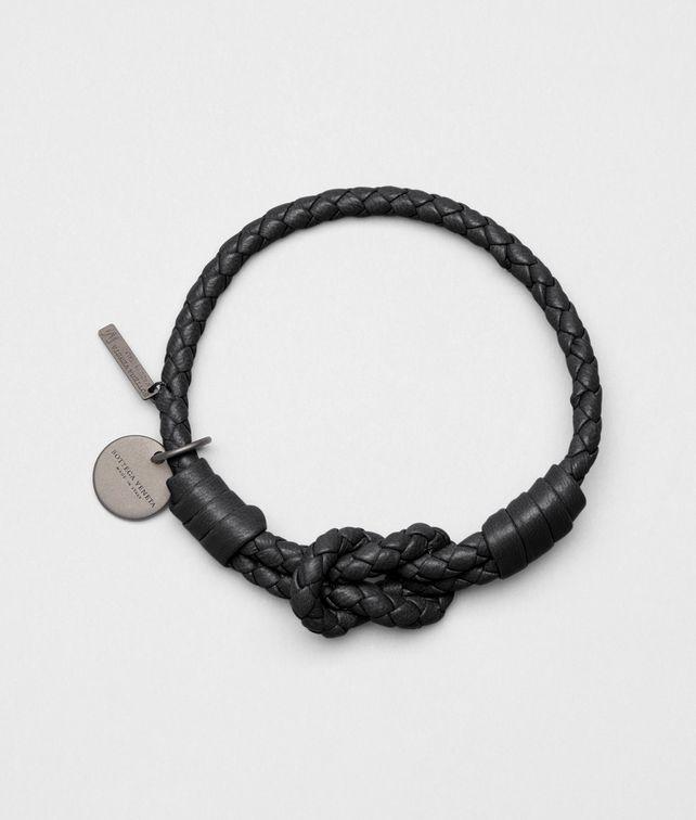 Armband aus Nappaleder Intrecciato Nero