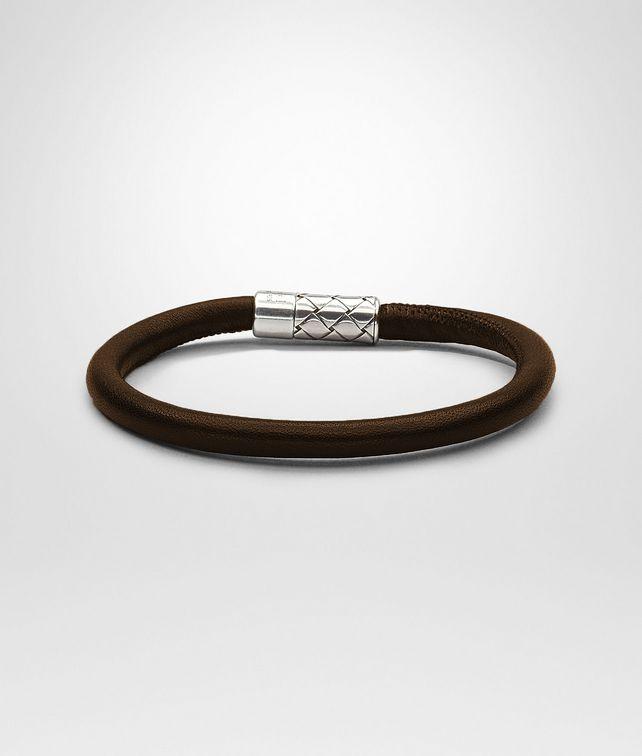 BOTTEGA VENETA Ebano Intrecciato Antique Silver Nappa Bracelet Bracelet U fp