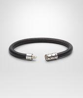 Armband aus SILBER ANTIQUE und Nappaleder Intrecciato Ebano Nero