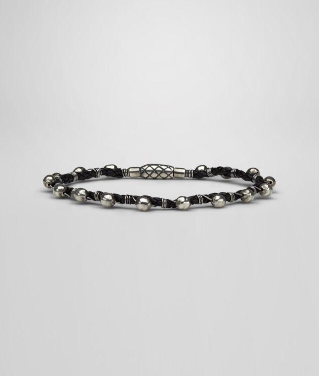 Armband aus oxidiertem Silber und Nappaleder Intrecciato